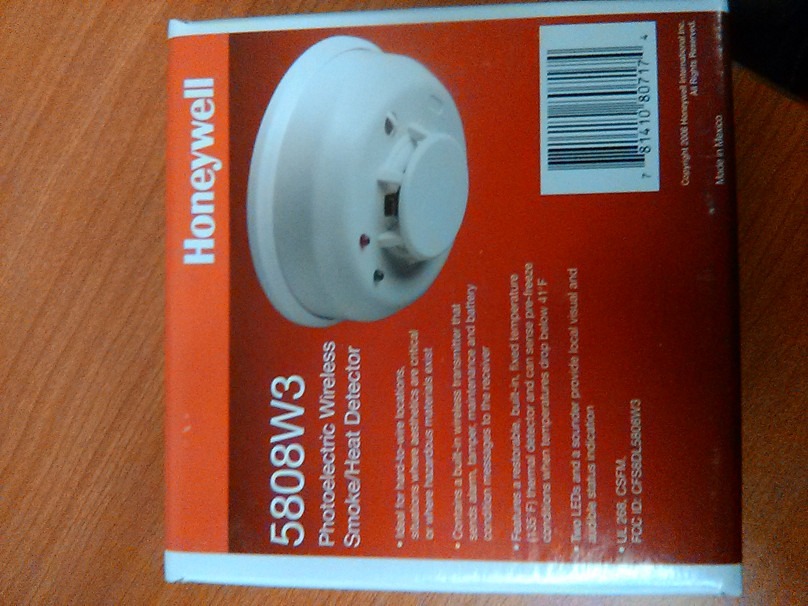 Honeywell 5808W3 Photoelectric  Wireless Smoke/Heat Detector